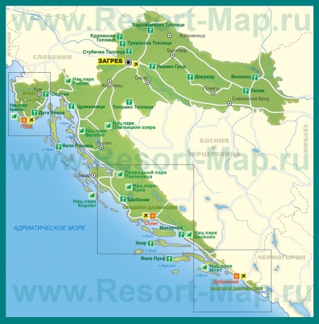 Курорты Хорватии на карте