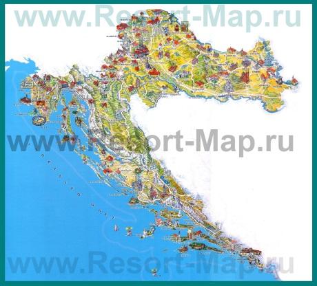 Туристическая карта Хорватии с достопримечательностями