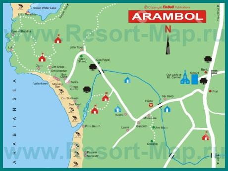 Подробная карта курорта Арамболь