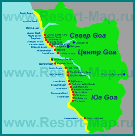 Карта отелей Гоа