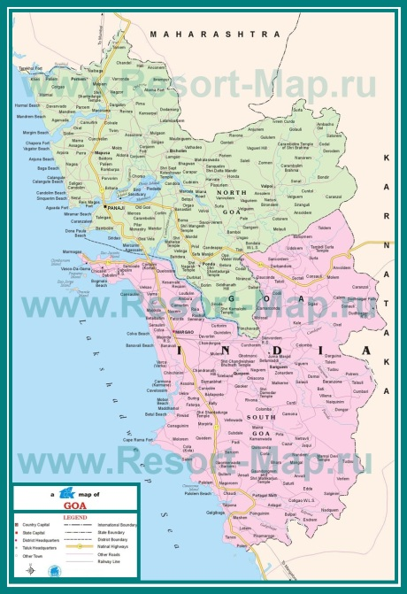 Карта южного и северного Гоа