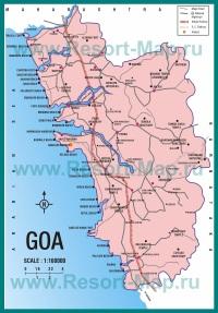 Подробная карта Гоа с пляжами