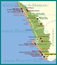 Карта отелей и курортов Кералы
