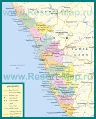 Подробная карта штата Керала