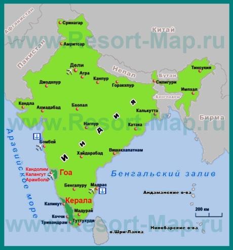 Курорты Индии на карте