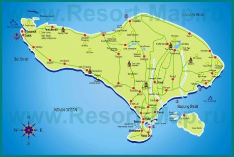 Карта Бали с курортами