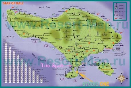 Карта острова Бали с пляжами и достопримечательностями