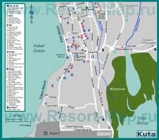 Подробная карта курорта Кута