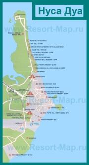 Карта отелей Нуса-Дуа