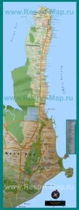 Подробная карта курорта Нуса-Дуа