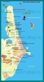 Туристическая карта Нуса-Дуа с отелями