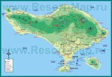 Подробная карта Бали с отелями