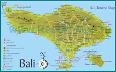 Туристическая карта острова Бали