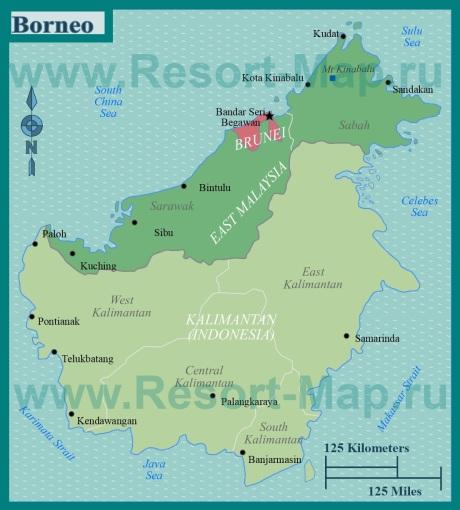 Подробная карта острова Борнео