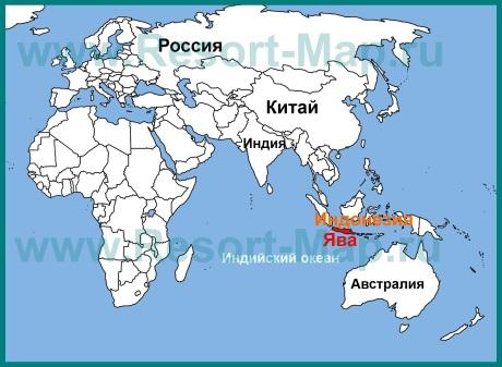 Остров Ява на карте мира