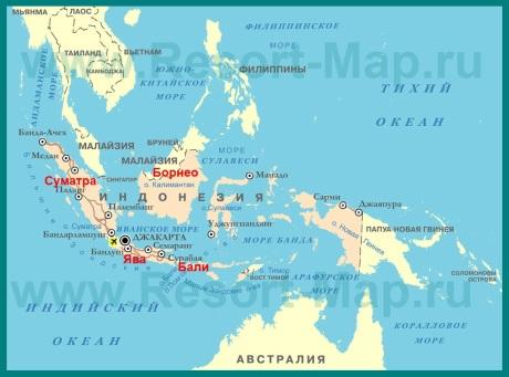 Курорты �ндонезии на карте