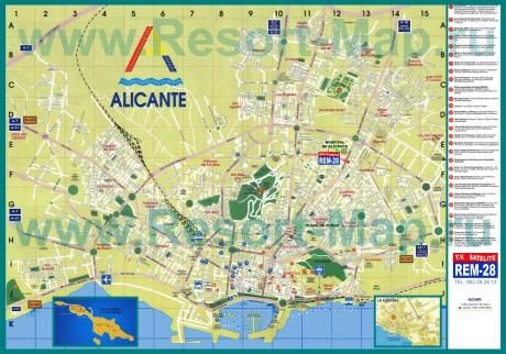Подробная карта города Аликанте