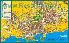 Туристическая карта Аликанте с достопримечательностями