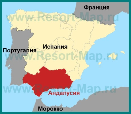 Андалусия на карте Испании
