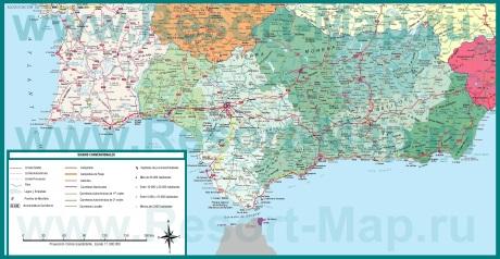 Подробная карта региона Андалусия
