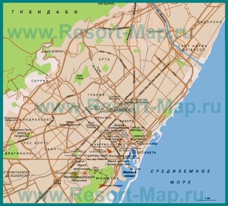 Карта Барселоны на русском языке