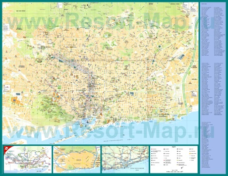 Подробная карта Барселоны с улицами