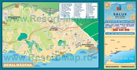 Подробная карта курорта Бенальмадена