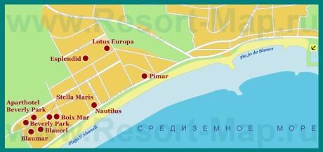 Карта отелей Бланеса