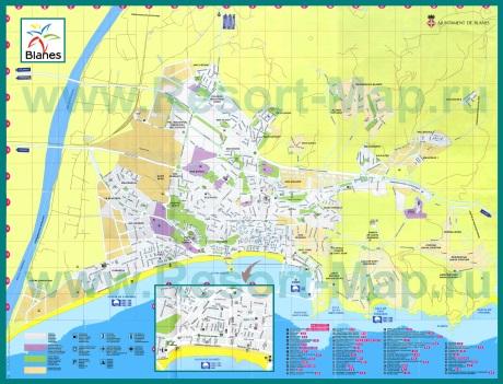 Подробная карта курорта Бланес
