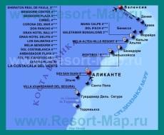 Карта отелей Коста-Бланка