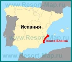 Коста-Бланка на карте Испании
