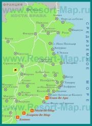 Карта Коста-Брава с курортами на русском языке