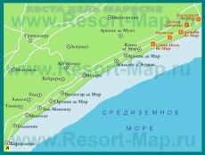 Карта Коста-дель-Маресме с курортами
