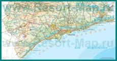 Подробная карта побережья Коста-Дорада
