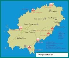Карта �бицы с отелями