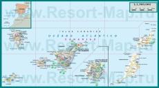 Подробная карта Канарских островов