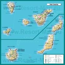Туристическая карта Канарских островов с достопримечательностями