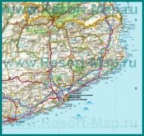 Карта побережья Каталонии с городами