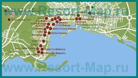 Карта отелей Пальма-де-Майорки