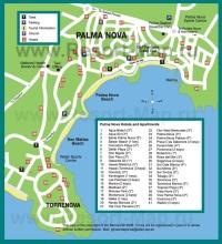 Туристическая карта курорта Пальма Нова