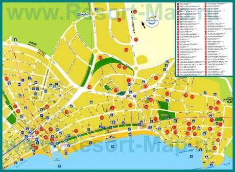 Подробная карта города Салоу с отелями