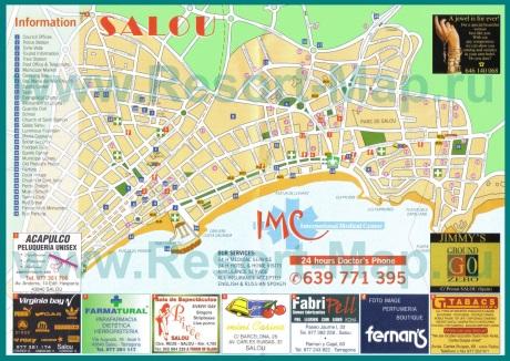 Туристическая карта курорта Салоу с достопримечательностями