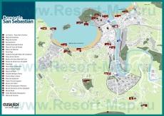 Подробная карта Сан-Себастьяна с достопримечательностями