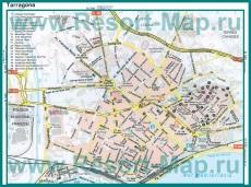 Карта курорта Таррагона с достопримечательностями