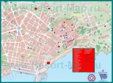 Подробная карта Таррагоны с отелями