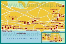 Карта отелей Торремолиноса