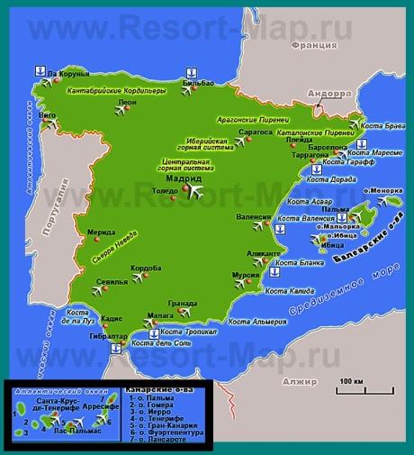 Курорты �спании на карте