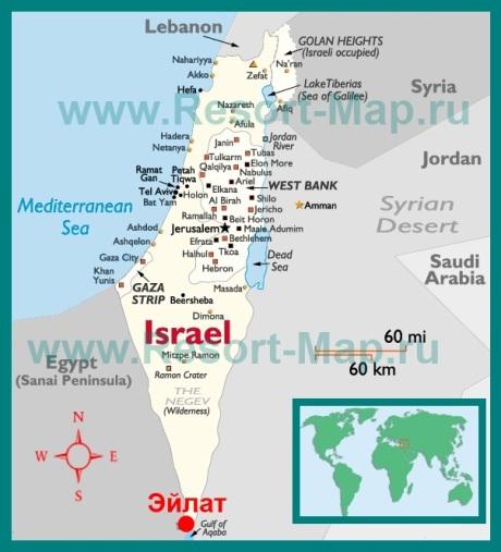 Эйлат на карте �зраиля