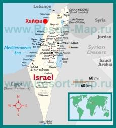 Хайфа на карте Израиля