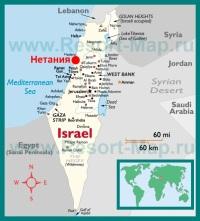 Нетания на карте �зраиля